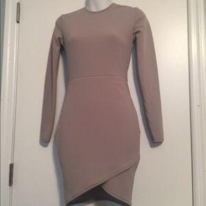 56dd6b4700 pretty little thing Dresses - Dove grey long sleeve wrap skirt Bodycon Dress
